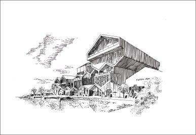 钢笔  手绘 建筑风景