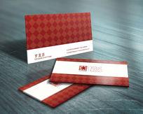 红色方块装修公司名片模板
