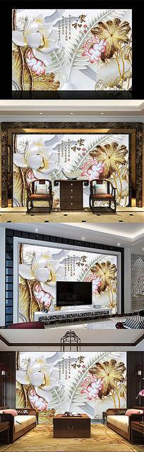 家和富贵浮雕电视背景墙