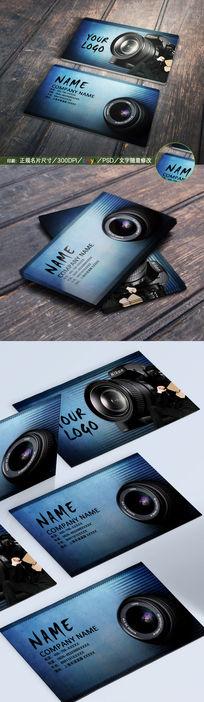 蓝色简约摄影摄像名片PSD分层