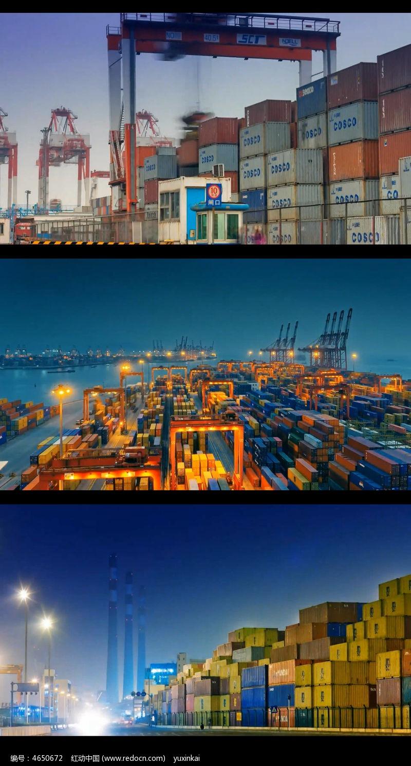 忙碌的货运码头视频(快速镜头)图片