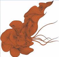 现代感矢量华丽丝绸线描素材
