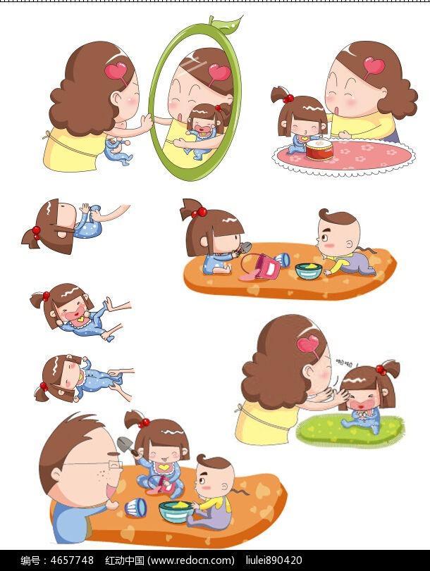 原创q版婴儿训练动作示例图图片