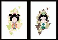 原创唐朝服饰妆容设计,Q版中国风卡通人物设计