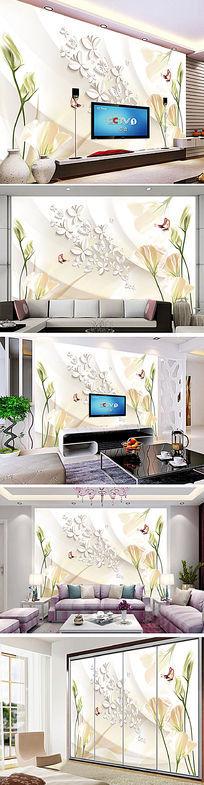 3D立体简约梦幻花朵电视背景墙