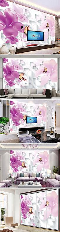 粉色梦幻时尚3D花朵电视背景墙
