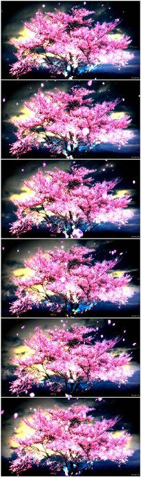 粉色荧光樱花树桃花瓣飞舞