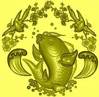 精品精雕模板图片下载精雕跃鱼
