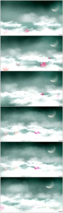 梦幻云雾彩虹荷花月亮LED晚会视频素材