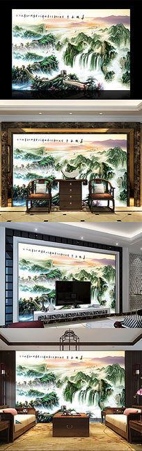 江山多娇风水中式办公室背景墙