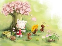 可爱风小猫和蚂蚁儿童插画