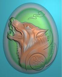 狼头精雕图模板
