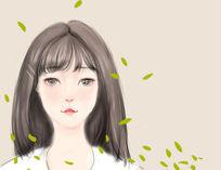 清纯女孩头像插画psd PSD
