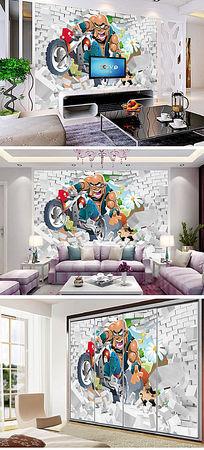 3D破墙动漫儿童房背景墙