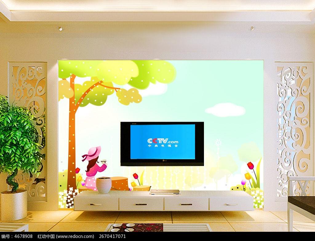 11款 郁金香花朵电视背景墙