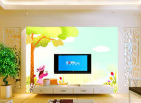 梦幻卡通手绘电视背景墙