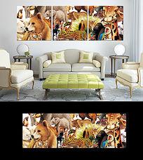 动物图案三联无框画设计
