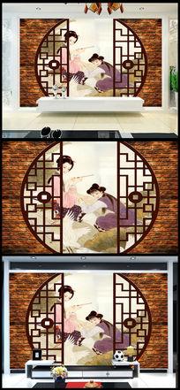 古典女子茶楼背景墙