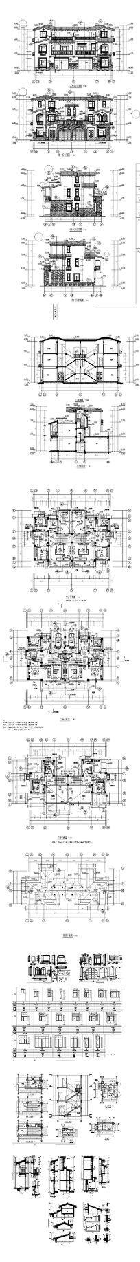 别墅外观CAD建筑设计 dwg