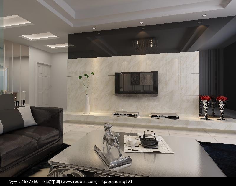 瓷砖黑镜客厅电视墙模型素材max
