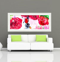 红酒玫瑰浪漫时尚无框画模板