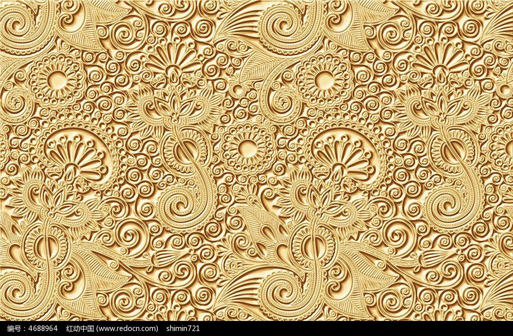9款 金色花纹大堂背景墙图片