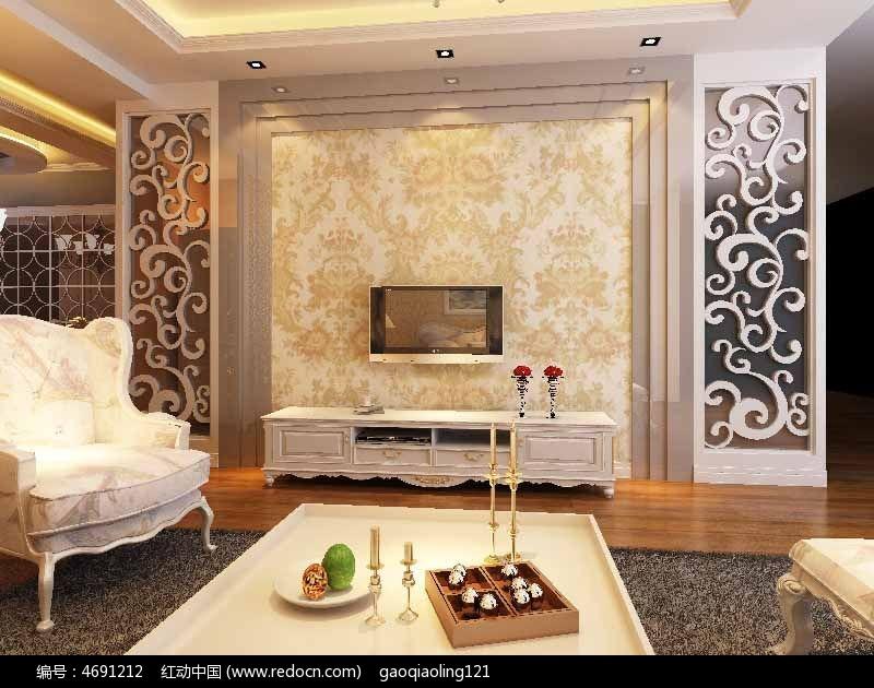欧式客厅电视墙装修模型max