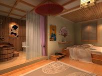 日式足疗包房3d模型下载max