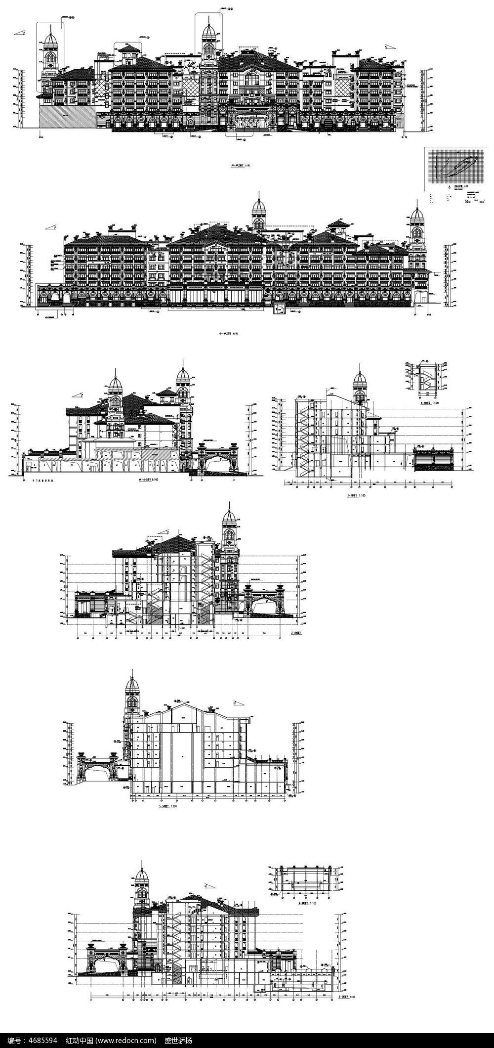 五星级酒店建筑CAD图纸_CAD图纸图片素材图纸门口标志图片