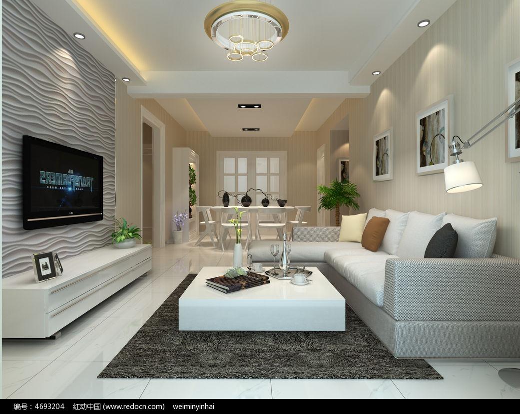 现代客厅3d模型下载图片