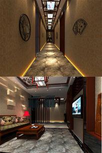 中式酒店大厅过道3d模型下载