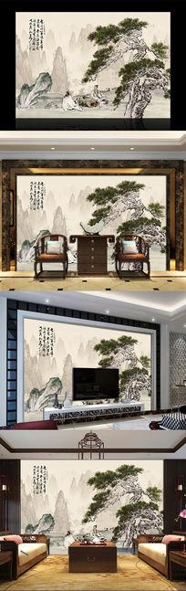 国画松树中式电视背景墙