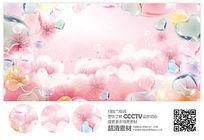浪漫粉色花朵展板背景设计