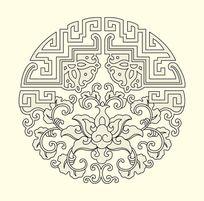 荷花中秋月饼包装花纹图案