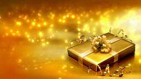 金色礼物包装盒视频素材