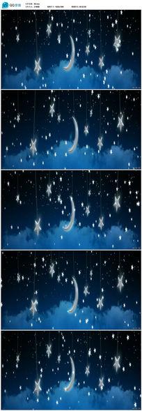 卡通月亮星星云朵纸船LED背景视频素材