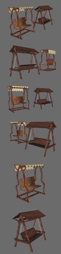 两款木制室外座椅SU设计