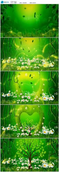 绿色森林粒子特效LED舞台背景视频素材