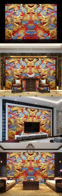 双龙戏珠重彩中式电视背景墙