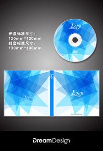 蓝色几何科技光盘CD封套设计