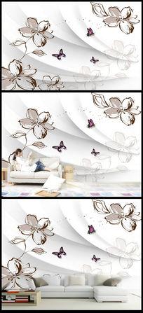手绘花卉欧式电视背景墙