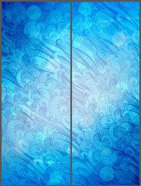 蓝色华丽花纹移门图案 PSD