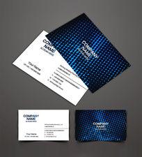 蓝色金属背景名片设计