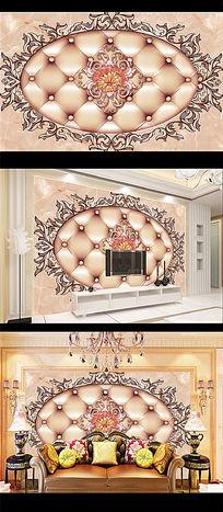 软包欧式3D电视背景墙图片