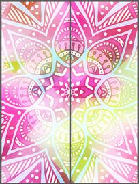 时尚粉色花纹卧室移门 PSD