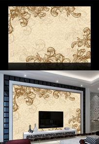 简约欧式花纹背景墙