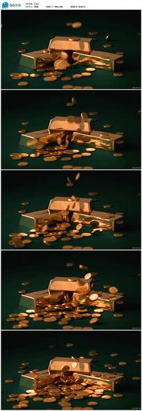 高清金融商贸金币金砖视频视频素材