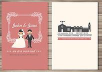 卡通情侣婚礼邀请卡模板
