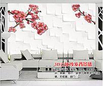 3D立体花朵简约电视背景墙