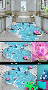 3D立体荷花海豚浴室地砖模板